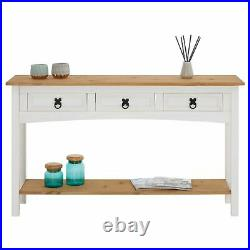 Table console meuble d'appoint style mexicain 3 tiroirs en pin massif blanc/brun